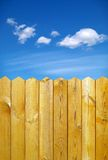 Fence and sky. Wooden fence and blue sky Royalty Free Stock Image