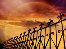 Fence and sky. Dramatic sky-beauty in nature royalty free stock photography