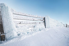 Fence in snow on the mountаin hill.Fence in snow on the mountain hill,Chopok 2004m, Slovakia Stock Photography