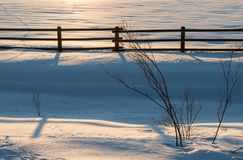 Fence in the snow in the sunsets fading light. Royalty Free Stock Photo