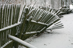 Fence with snow. Winter background. Stock Photography