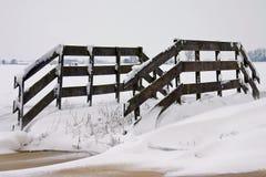 fence snowy 库存照片