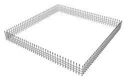 Fence Square. 3d model  with white background Royalty Free Stock Photo