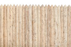 Fence from the stockade. Untreated wood. Isolate.  Royalty Free Stock Photo