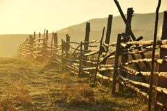 The Fence stood out in the sunrise. The fence was taken at lin jiang vilage,hulun buir prairie ,china Royalty Free Stock Photo