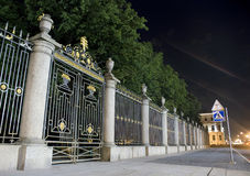 Fence of Summer Garden. Famous fence of Summer Garden in Saint-Petersburg at night Stock Images