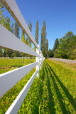 Fence beside sunny pasture Stock Photos