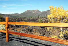 A Fence at Sunset Crater Stock Photo