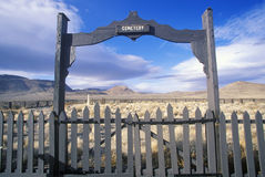 Fence surrounding pioneer cemetery in Fort Churchill State Park, NV Stock Photo