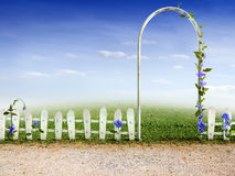 Fence to the Garden. Beautiful Background with fence to the Garden Stock Photos