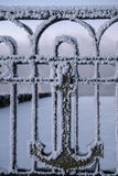 Fence in trade port in Murmansk, Kola Peninsula, Russia Stock Photography