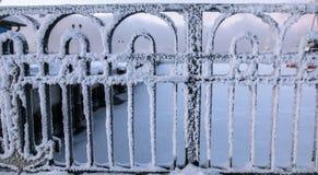 Fence in trade port in Murmansk, Kola Peninsula, Russia Stock Images