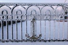 Fence in trade port in Murmansk, Kola Peninsula, Russia Royalty Free Stock Image
