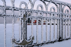 Fence in trade port in Murmansk, Kola Peninsula, Russia Royalty Free Stock Photos