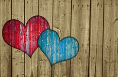Fence with two hearts Royalty Free Stock Photo