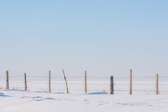 Fence in Untouched Snow. A landscape of a fence line in untouched fresh snow with a soft blue sky Stock Photos