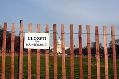 Fence with US Capitol. In the background stock photos