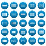 Fence vector icons set blue, simple style. Fence icons set blue. Simple illustration of 25 fence vector icons for web Royalty Free Stock Images