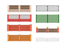 Fence vector illustration. Brick fence and wood fence. Fence around the house vector design. Security fence. Brick wall fence. Fe stock illustration