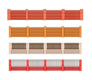 Fence vector illustration. Brick fence and wood fence. Fence aro Royalty Free Stock Photos