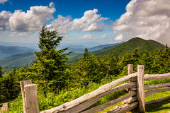 Fence and view of the Appalachians from Mount Mitchell, North Ca Royalty Free Stock Photography