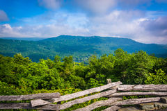 Fence and view from Grandfather Mountain, near Linville, North C Stock Photo