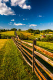 Fence and view of rolling hills and farmland in Antietam National Battlefield Royalty Free Stock Photo