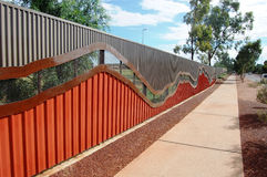 Fence and walking path. Alice Springs, Northern Territory, Australia Stock Images