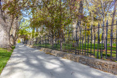 Fence Walkway Trees Spring Royalty Free Stock Photography