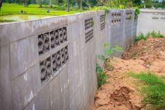 Fence wall of the newly built housing is tilted and collapsed du. E to high earthwork and heavy rainfall, causing the soil in the house to weaken and flow out Royalty Free Stock Photos