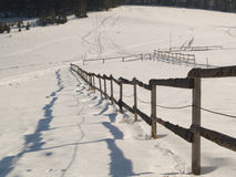 Fence - winter. Old wooden fence in winter - Polish mounatins Stock Images
