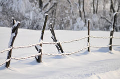 Fence in winter Stock Photo
