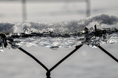 Icy fence. A fence in the Winter coated in ice. The sun shines throught the ice an sparkles Stock Photography