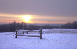 Fence on winter field at sunrise Royalty Free Stock Image
