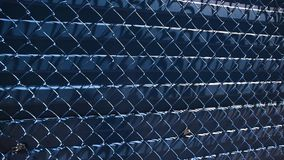 Fence with wire. Blue metal fence with wire stock video
