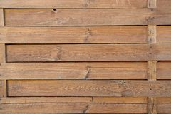 Fence of wood outdoors on brown wooden background. Surrounding, defense, protection, barrier concept royalty free stock photos