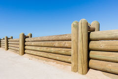 Fence Wood Poles Low Wall Royalty Free Stock Image