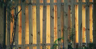 Fence - wooden. Wooden fence glows in late afternoon light stock photos