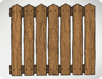 Fence from wooden boards seamless, hand-drawing. Vector illustra Stock Image