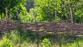 Fence of wooden branches in the garden.  stock images
