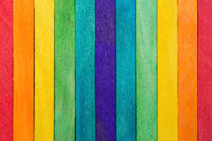 Fence wooden rainbow colorful for wooden textured background use.  stock photography