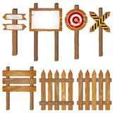 Fence, wooden signboards, arrow sign, target dart Royalty Free Stock Photos