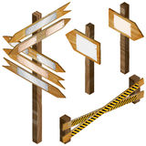 Fence, wooden signboards, arrow sign. Royalty Free Stock Image