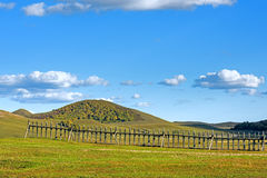 fence in WulanBu all grassland ancient battlefield Royalty Free Stock Images