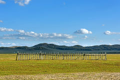 fence in WulanBu all grassland ancient battlefield Stock Photography