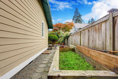 Fenced backyard  view Royalty Free Stock Image