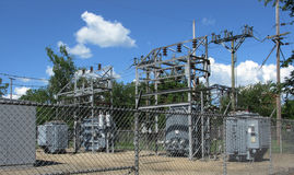 Fenced electrical power substation Stock Images