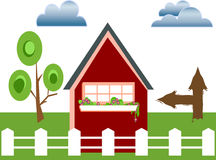 Fenced home. Home with white fence Royalty Free Stock Photography