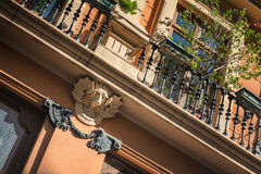 Fenced narrow balcony in Valencia, Spain Stock Photos