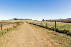 Fenced Rural Farm Dirt Road Running Next to Meadow Stock Images